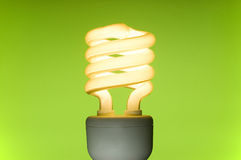 Energy saving fluorescent light bulb Stock Image