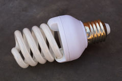 Energy saving fluorescent light bulb. On gray bakground royalty free stock image