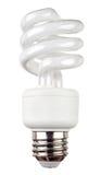 Energy saving fluorescent light bulb isolated on white. Energy saving fluorescent light bulb on a white background stock photography