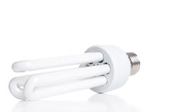 Energy saving fluorescent light bulb, isolated on white backgrou Royalty Free Stock Photos