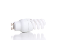Energy saving fluorescent light bulb, isolated on white backgrou Stock Images