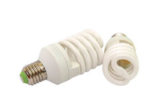 Energy saving fluorescent light bulb isolated Royalty Free Stock Photography