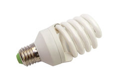Energy saving fluorescent light bulb isolated Royalty Free Stock Images