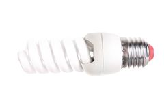 Energy saving fluorescent light bulb isolated Stock Images