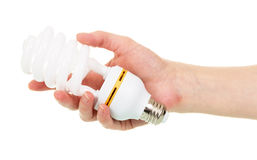 Energy-saving fluorescent spiral bulb in   hand isolated on white. Royalty Free Stock Photo