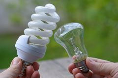 Energy saving or glow lamp? Choice problem Stock Photography