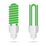 Energy saving green light bulbs vector Stock Images