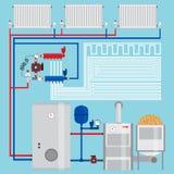 Energy-saving heating system.  Pellet boiler. Stock Images