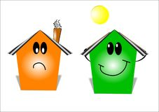 Energy saving home. Smiling home due to energy savings from solar panels in cartoon style Stock Photos