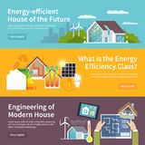 Energy Saving House Banner. Energy saving house horizontal banner set with temperature control system elements isolated vector illustration Stock Image