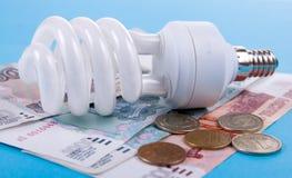 Energy Saving Lamp And Money Royalty Free Stock Photography