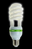 Energy Saving Lamp on Black Background Royalty Free Stock Photo