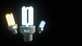 Energy saving lamp on a black background with the letters ECO Sa Stock Images
