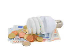 Energy saving lamp bulb on euro money. Isolatd on white royalty free stock photo