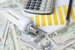 Energy saving lamp , chart and calculator on money background Energy saving,saving electricity concept. Energy saving lamp,chart and calculator on money Royalty Free Stock Images