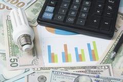 Energy saving lamp , chart and calculator on money background Energy saving,saving electricity concept. Energy saving lamp,chart and calculator on money Stock Photography