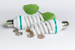 Energy saving lamp and coins Stock Images