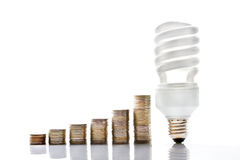 Energy saving lamp and coins on a white background Royalty Free Stock Images