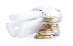 Energy saving lamp with european money Royalty Free Stock Photo