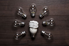 Energy saving lamp and glow lamps Stock Photography