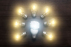 Energy saving lamp with glow lamps comparison Royalty Free Stock Photo