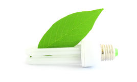 Energy saving lamp with green leaf on white Stock Images