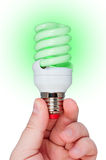 Energy saving lamp with green light. Stock Image