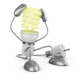 Energy saving lamp holding his hands. Royalty Free Stock Photo