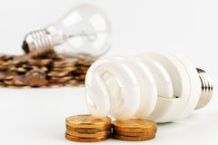Energy-saving lamp and incandescent lamp Stock Photo