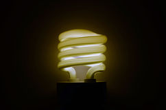 Energy saving lamp. Included energy-saving lamp in the shape of a spiral Royalty Free Stock Image