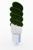 Energy saving lamp made of green grass Stock Images