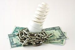 Energy saving lamp and money Royalty Free Stock Photos