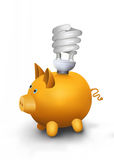Energy saving lamp on piggy bank. Royalty Free Stock Photos