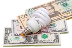 Energy saving lamp and and saved dollars Royalty Free Stock Photo