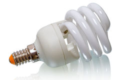 Energy saving lamp on a white Royalty Free Stock Images