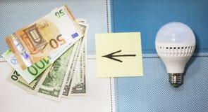 Energy-saving lampen en geld, het concept zuinigheid Close-up stock foto