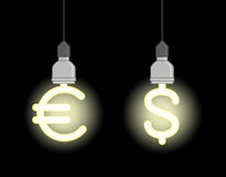 Energy saving lamps in form of euro sign and dollar sign. Bright energy saving lamps in form of euro sign and dollar sign Royalty Free Stock Photos