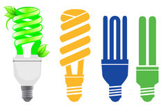 Energy saving lamps set. Set of 4 energy saving lamps Royalty Free Stock Photo