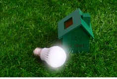Energy saving, bulb light and a green house on the lawn. Royalty Free Stock Image