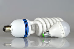 Energy saving led bulbs. Closeup of energy saving led bulbs royalty free stock images