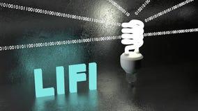 Energy saving LIFI bulb emitts binat data streams Stock Photos