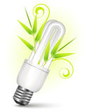 Energy saving light bulb. With growing bamboos vector illustration