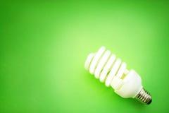 Energy saving light bulb. On green background Stock Image