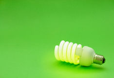 Energy saving light bulb. On green background Stock Photo