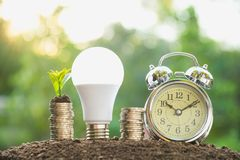 Energy saving light bulb and alarm clock on stacks of coins on n. Ature background. Saving, accounting and financial concept Stock Image