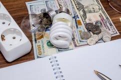 Energy saving light bulb and dollar Stock Photo