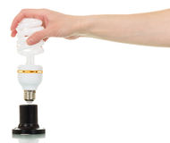 Energy saving light bulb in female hand on white. royalty free stock images