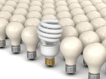 Energy Saving Light Bulb and incandescent lamps Stock Images