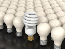 Energy Saving Light Bulb and incandescent lamps Stock Image