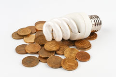 Energy saving light bulb lying on coins Stock Photography